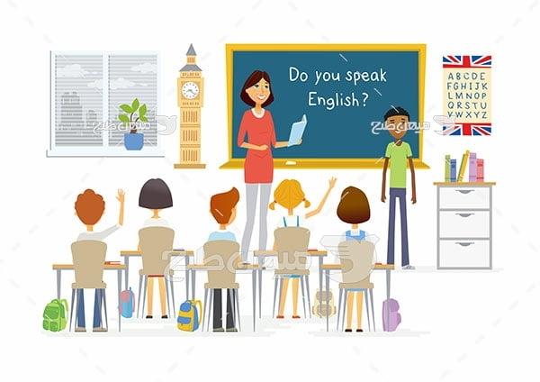 وکتور کلاس آموزش زبان مدرسه