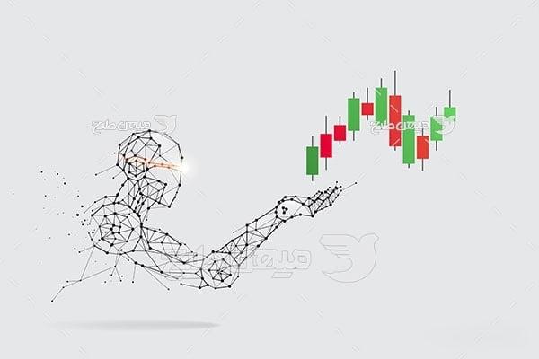 وکتور ربات هوشمند و کندل سهام