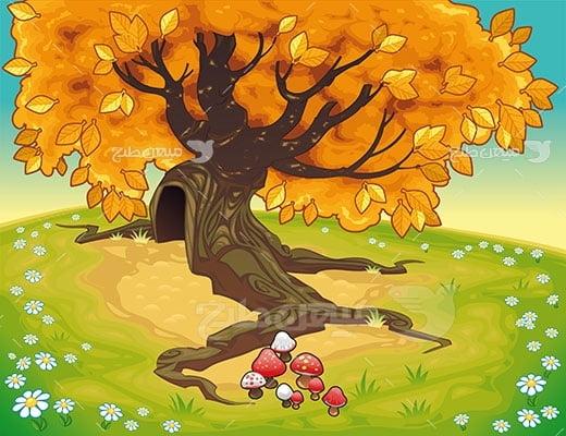 وکتور کاراکتر طبیعت پاییز