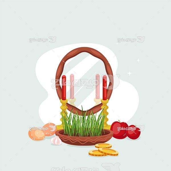وکتور سیب و سبزه عید