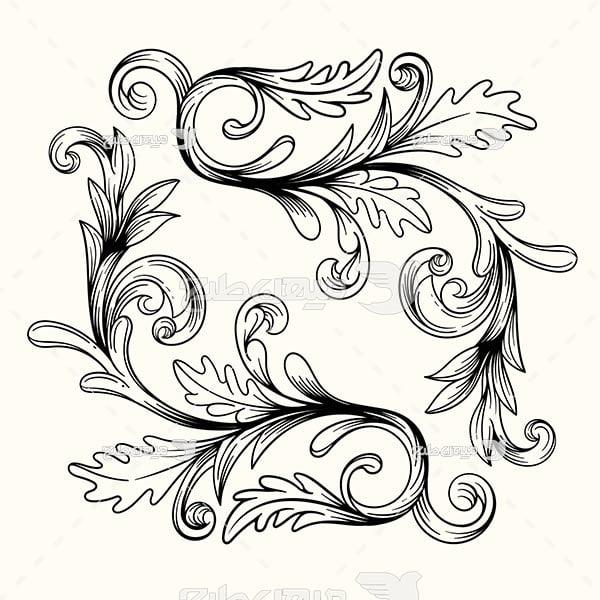 وکتور حاشیه اسلیمی و تذهیب نقش گل