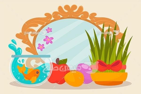 وکتور ماهی و سبزه سفره عید