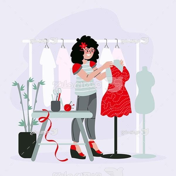 وکتور خیاط لباس زنانه