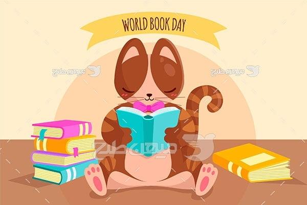 وکتور گربه کتابخوان