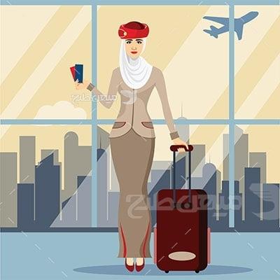 وکتور حجاب مهماندار هواپیما