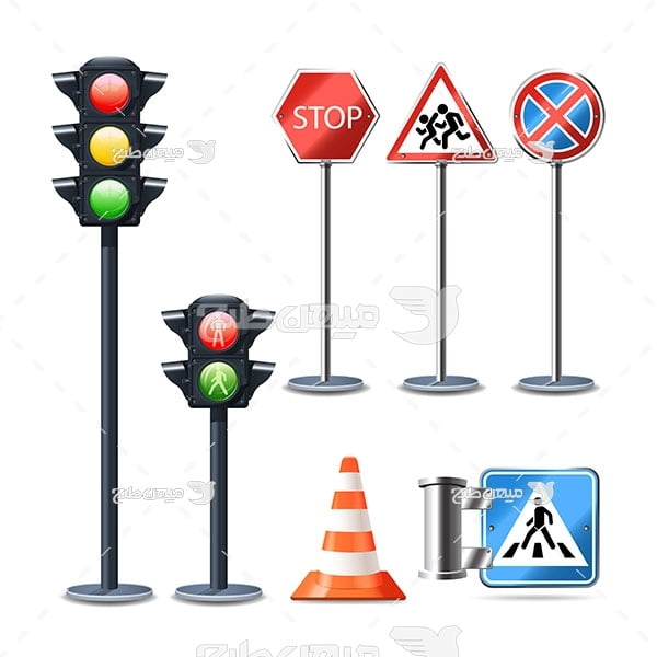 وکتور علائم و چراغ راهنمایی و رانندگی