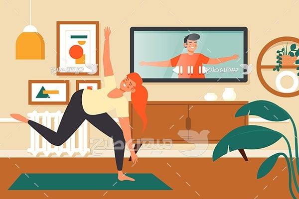وکتور ورزش و تمرین در منزل