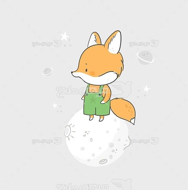 وکتور نقاشی کارتونی روباه روی ماه