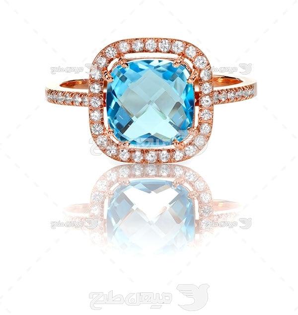عکس انگشتر الماس آبی