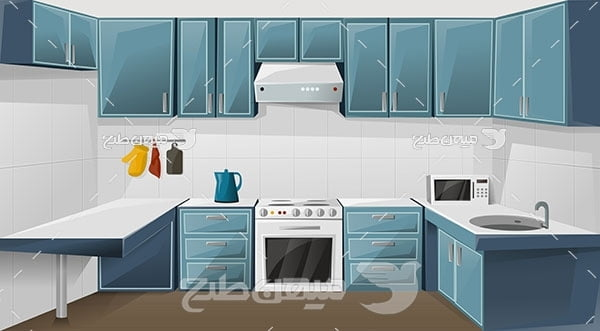 وکتور نمای داخل آشپزخانه