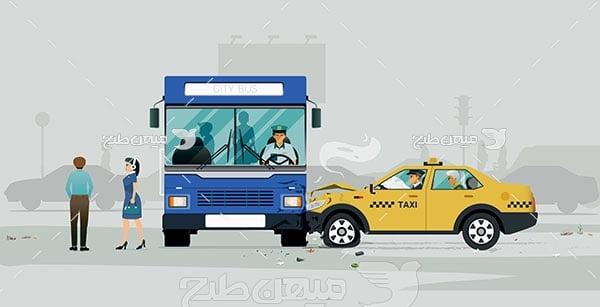 وکتور تصادف سواری با اتوبوس