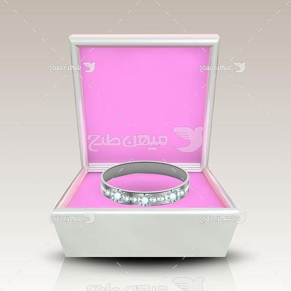 وکتور حلقه نقره با نگین های الماس