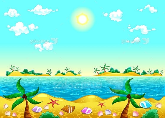 وکتور کاراکتر طبیعت جزیره
