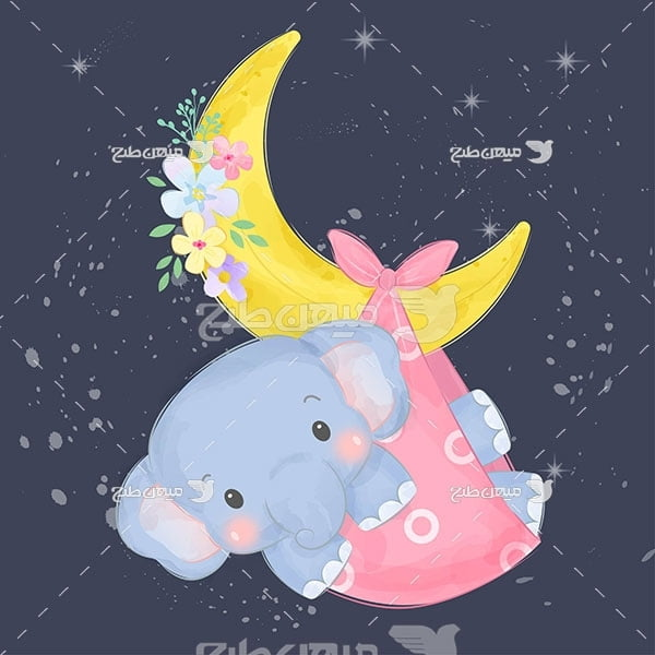 وکتور کارتونی فیل و ماه