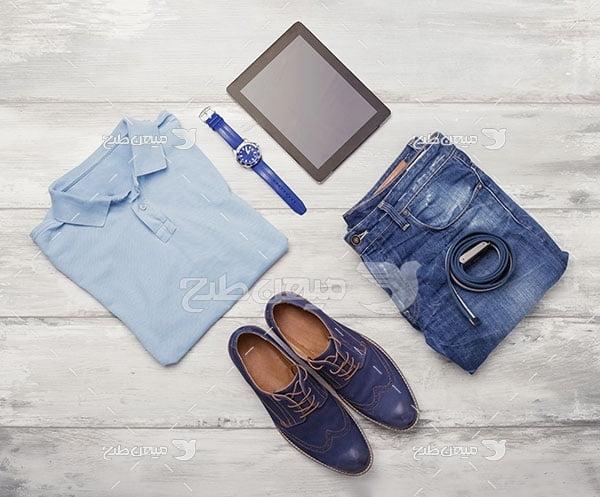عکس تبلیغاتی مد ست لباس مردانه آبی