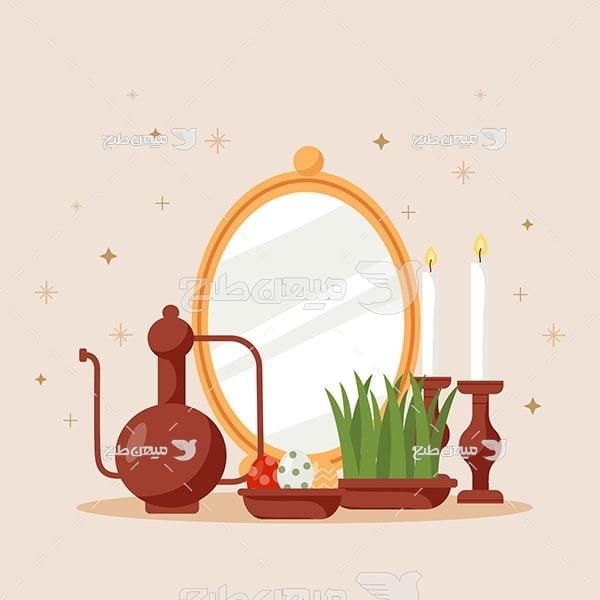 وکتور آینه و شمع نوروز