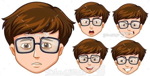 وکتور حالت صورت پسر عینکی