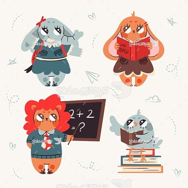 وکتور مدرسه حیوانات
