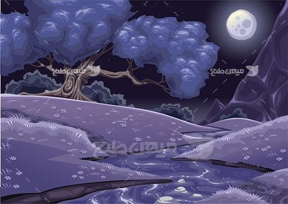 وکتور کاراکتر طبیعت دشت در شب