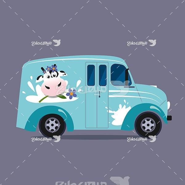 وکتور ماشین تحویل شیر