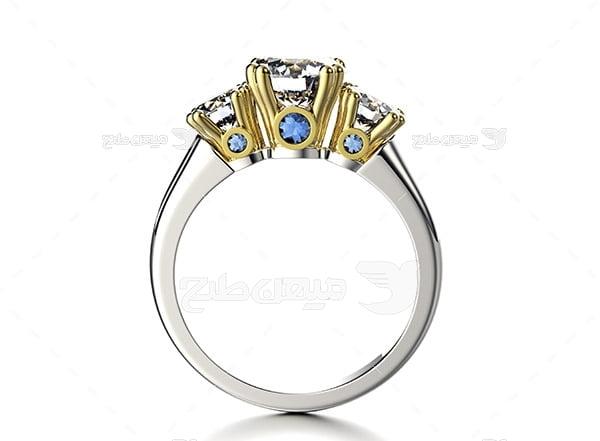عکس انگشتر نقره با نگین الماس و طلا