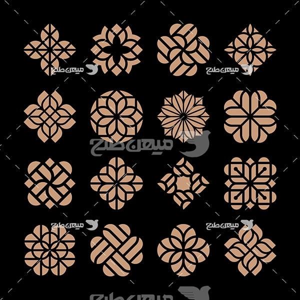 وکتور حاشیه اسلیمی و تذهیب نقش گل طلایی