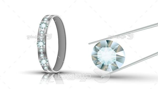 وکتور حلقه نقره الماس کاری شده
