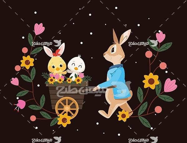 وکتور پترن طرح خرگوش و اردک