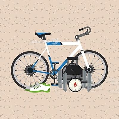 وکتور ورزش و تمرین دوچرخه سواری