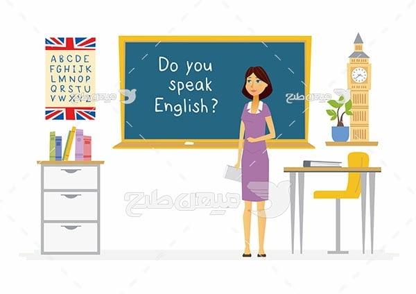 وکتور کلاس آموزش زبان انگلیسی