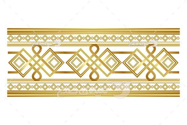 وکتور حاشیه اسلیمی و تذهیب لوزی زرد طلایی