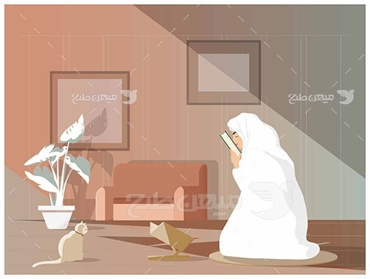 وکتور کاراکتر حجاب و تلاوت قرآن