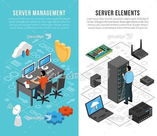 وکتور کاراکتر مدیریت سرور شبکه