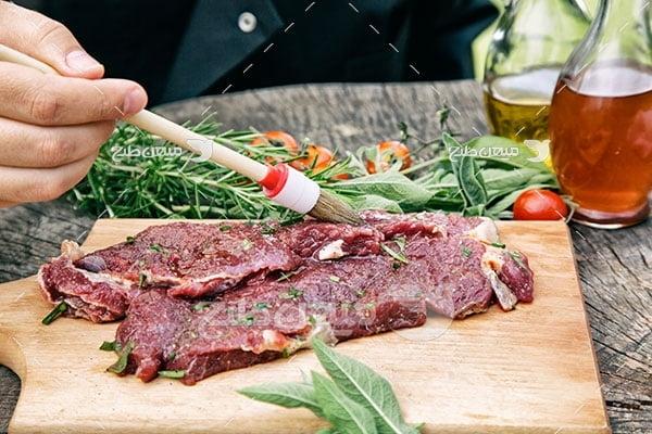 عکس پخت غذا با گوشت قرمز