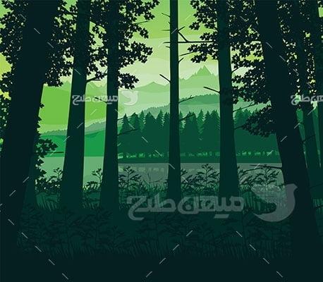 وکتور کاراکتر طبیعت جنگل ترسناک