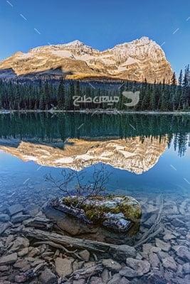 عکس تبلیغاتی طبیعت انعکاس کوه در رودخانه