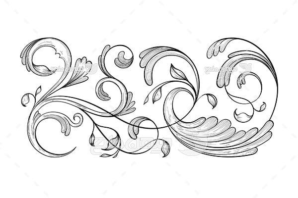 وکتور حاشیه اسلیمی و تذهیب برگ و گل