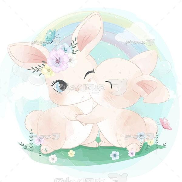 وکتور نقاشی خرگوش ها