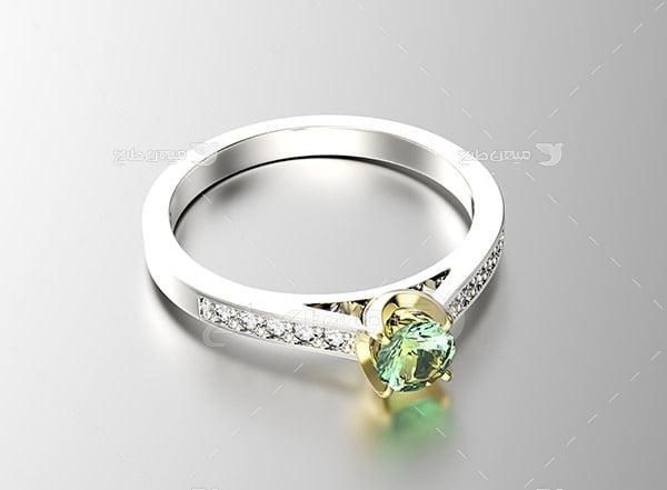 عکس انگشتر نامزدی با نگین الماس