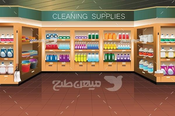 وکتور فروشگاه مواد تمیز کننده و شوینده