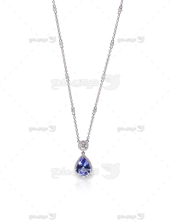 عکس زنجیر نقره با نگین الماس