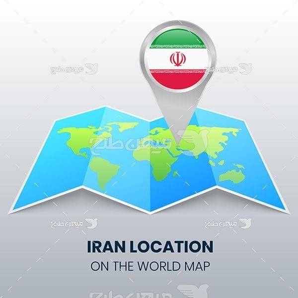 وکتور موقعیت کشور ایران