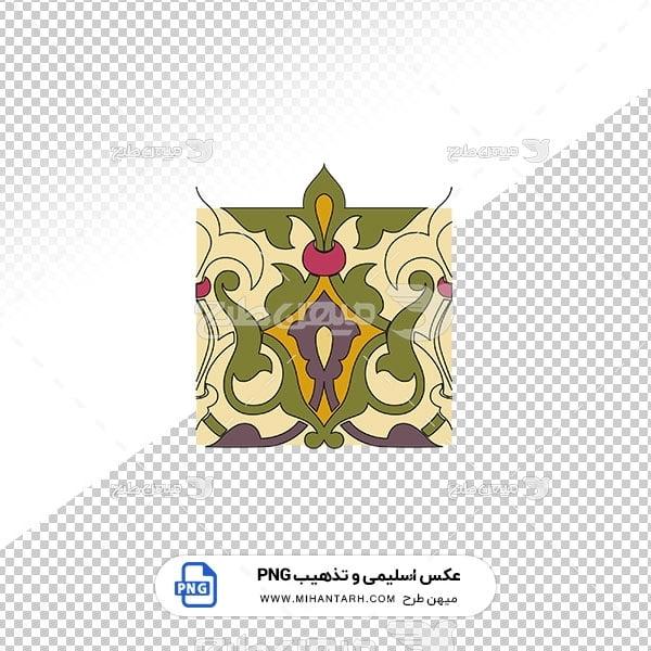 عکس برش خورده اسلیمی و تذهیب حاشیه طرح سبز و بنفش