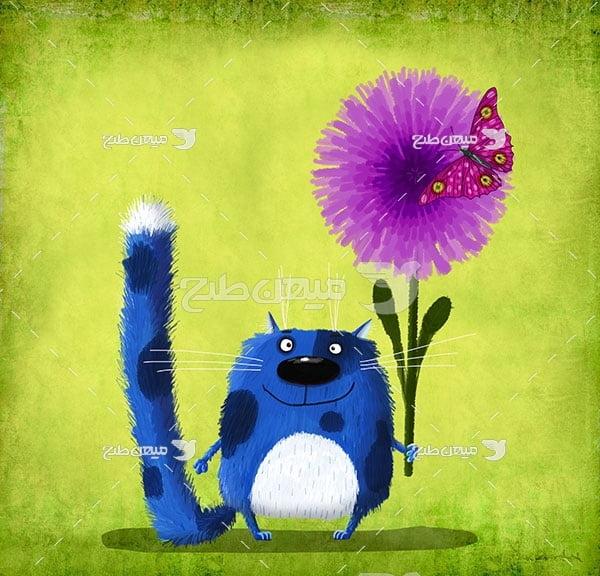عکس گربه گل بدست