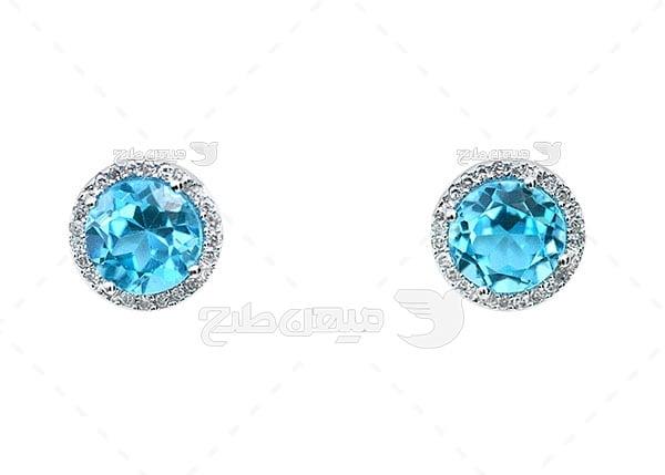 عکس گوشواره الماس نگین آبی