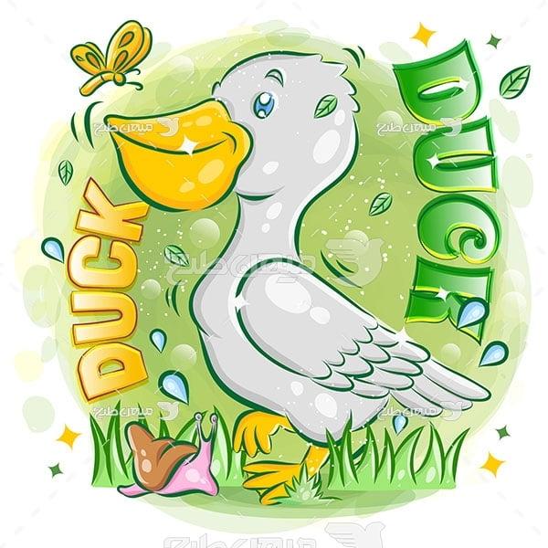 وکتور نقاشی کارتونی اردک