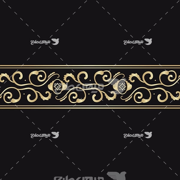 وکتور حاشیه اسلیمی و تذهیب گل طلایی
