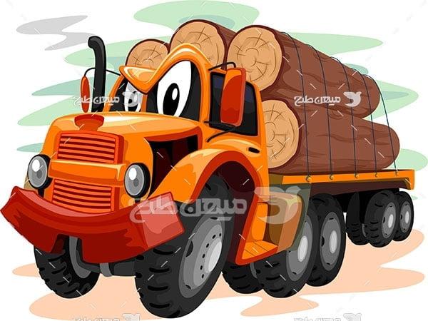 وکتور نقاشی تریلی حمل چوب