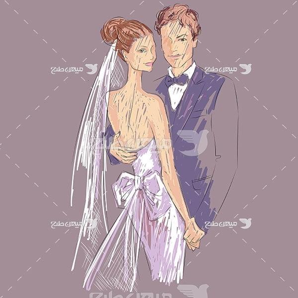 وکتور طرح نقاشی عروس و داماد