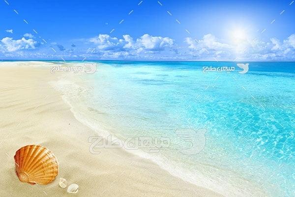عکس ساحل آب های آبی
